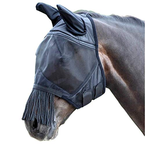 Shires Fine Mesh Fly Mask with Fringe Ears Full ()
