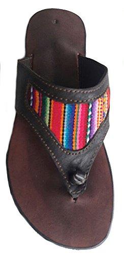 Alpacaandmore Flache braune Damen Leder Sandalen Zehentrenner mit farbigem  Mantastoff Design