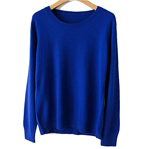 Spring Winter O-Neck Cashmere Wool Sweater Women Solid Big Pullovers Jumper Knitted Sweaters,Small,Blue