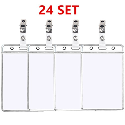Vertical Metal (BIGTHING Clear Plastic Vertical Nametag Badge Holders and Metal Badge Clips with Vinyl Strap (24 Set))