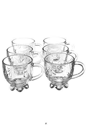6 Footed Mugs (Set 6 Flower Petal Cut Footed Glass Turkish Persian Tea Punch Glasses Cups Mugs)