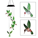 Solar Changing Color Hummingbird Wind Chime, JEDEW Solar Powered LED Hanging Lamp Windchime Light Outdoor Indoor Gardening Yard Pathway Window Decoraton