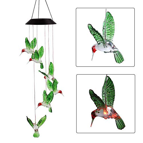 Solar Changing Color Hummingbird Wind Chime, JEDEW Solar Powered LED Hanging Lamp Windchime Light Outdoor Indoor Gardening Yard Pathway Window Decoraton by JEDEW