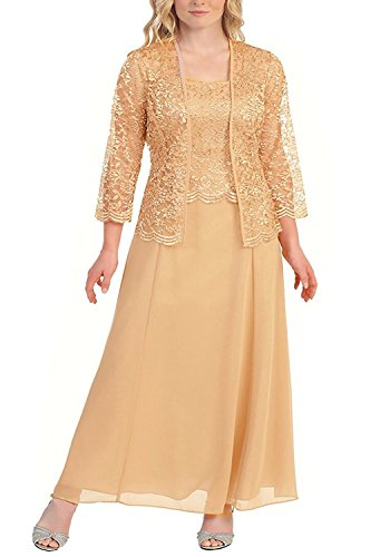 Pretygirl Womens Lace Mother of The Bride Evening Prom Dress Long Formal Gown with Jacket(US 18W, Gold)