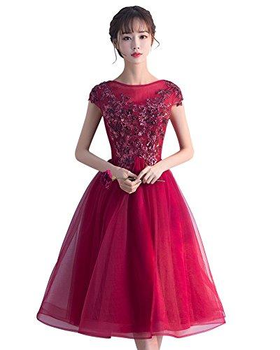 Party Dress Prom Sequins Wedding Formal Knee Dark Red Drasawee Women's Length Beaded Tulle Czwqv