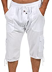 Cotton Natural Bermuda Shorts Long Cargo Summer Beach Cruise Shorts White,Small