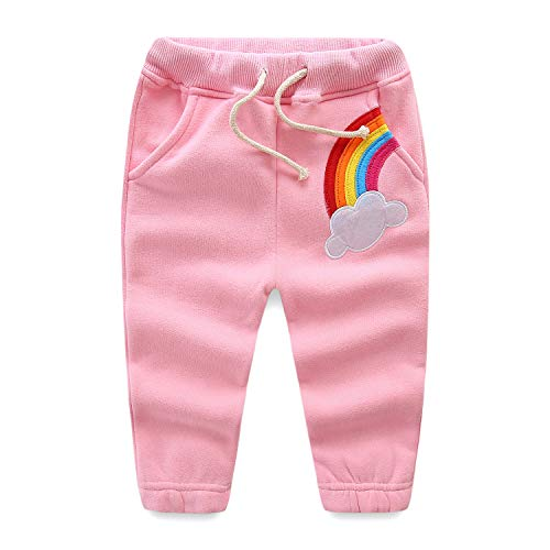 Mud Kingdom Toddler Girls Jogger Pants Fleece 4T Pink Rainbow by Mud Kingdom