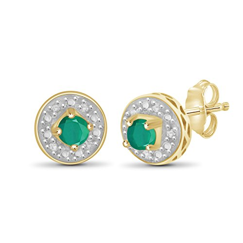 Stud Silver Gold Over (0.25ctw Genuine Emerald Gemstone and 1/20ctw White Diamond 14k Gold Over Silver Stud Earrings)