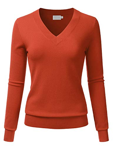 LALABEE Women's V-Neck Long Sleeve Soft Basic Pullover Knit Sweater Rust M