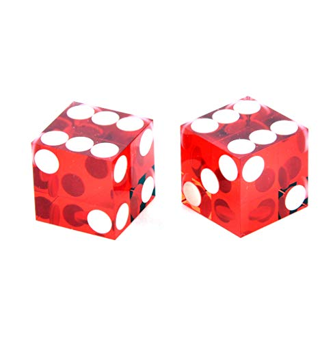 David Westnedge Pair of 19mm Red Precision Casino/Craps Dice - Drilled Pips for Randomness - 5042 ()