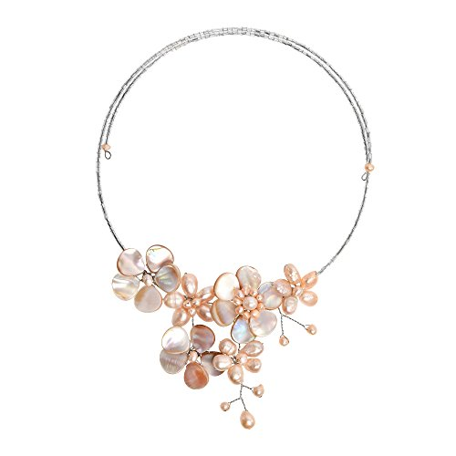 AeraVida Floral Mother of Pearl & Cultured Freshwater Pink Pearl Cluster Choker Wrap Necklace ()