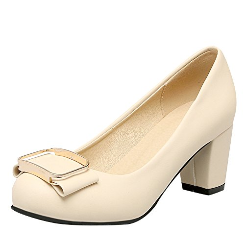 Carolbar Womens Bows Bridal Sweet Wedding Mid Heel Pumps Dress Shoes Beige uiWQRrZtx