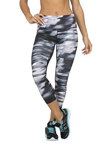 RBX Active Women's Streak Striped Printed Capri Leggings Black Lumen Medium, Black Lumen X-Large
