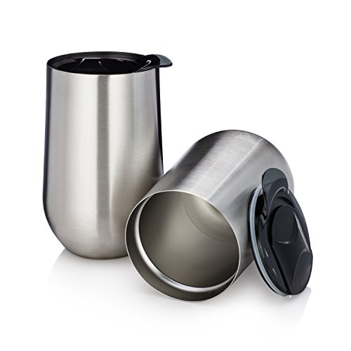 (Stainless Steel Stemless Insulated Wine Tumblers with Lids - Set of 2 Double Walled - Wine Coffee Tea Cup - 15 Oz - Shatterproof - BPA Free Healthy Choice - Dishwasher Safe - Best Value )
