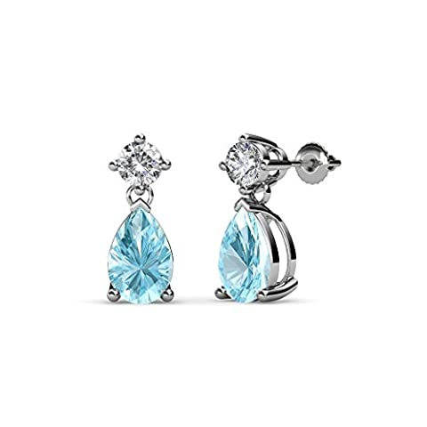 Pear Aquamarine and Diamond (SI2-I1, G-H) Dangling Stud Earrings 1.53 ct tw in 14K White Gold - I1 Pear Earrings
