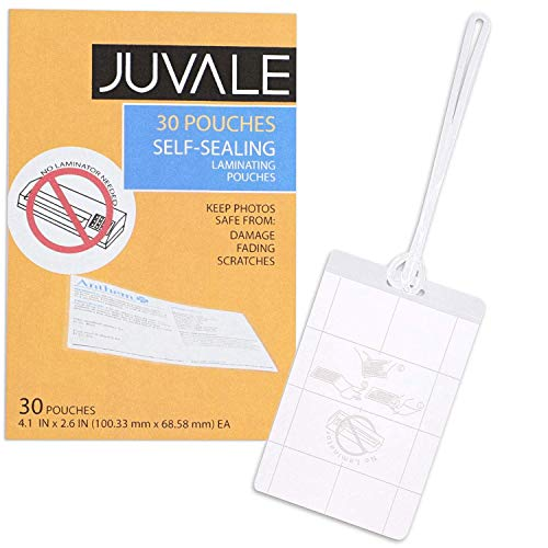 (Juvale 30-Pack Self-Seal Laminating Pouches for Luggage Tags, 4 x 2.5 Inches)