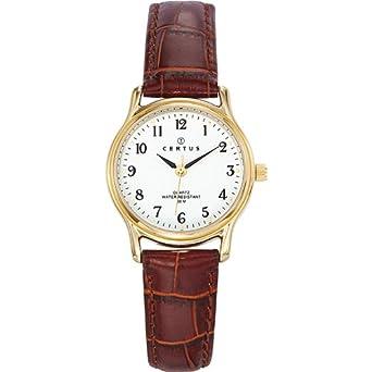 Certus , 646239 , Montre Femme , Quartz Analogique , Cadran Blanc , Bracelet  Cuir Marron