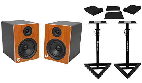Pair Rockville APM6C 6.5' 2-Way 350 Watt Powered USB Studio Monitors+Stands+Pads
