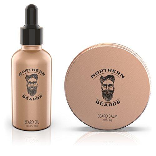 Beard Oil Beard Balm Kit | Beard Growth Grooming Kit with 100% Natural, Unscented, Organic Beard Oil & Balm by Northern Beards
