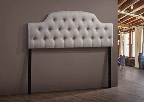 Wholesale Interiors Baxton Studio Morris Modern and Contemporary Fabric Upholstered Button-Tufted Scalloped Headboard, Full, Light Beige (Bedroom Contemporary Headboard)