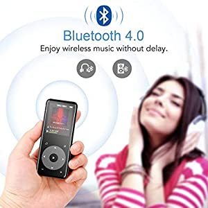 "MP3 Player with Bluetooth 4.0, Portable HiFi Lossless Sound MP3 Music Player with FM Radio Voice Recorder E-Book 2.4"" Screen, Support up to 128GB (Headphone, Sport Armband"