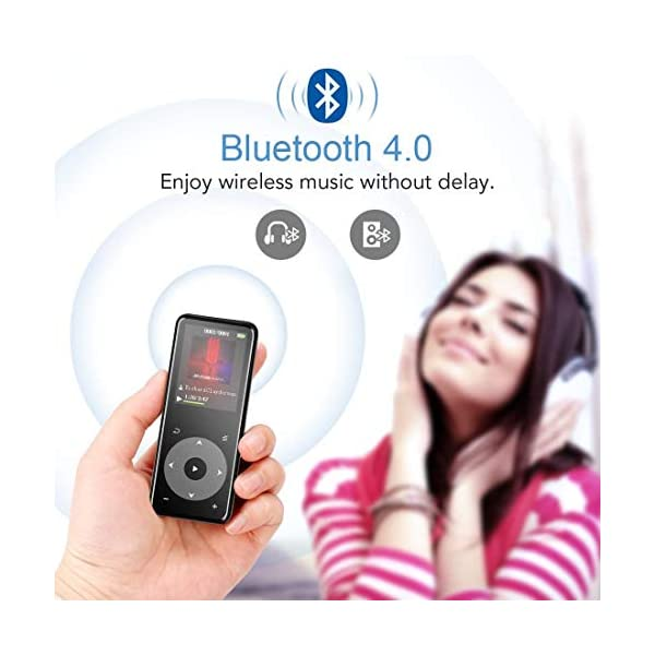 MP3 Player with Bluetooth 4.0, Portable HiFi Lossless Sound MP3 Music Player with FM Radio Voice Recorder E-Book 2.4'' Screen, Support up to 128GB (Headphone, Sport Armband 4
