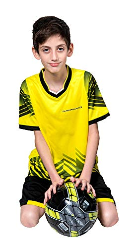 Soccer Jerseys for Kids Boys and Girls Shorts and T-Shirts Sports Wear Set (Medium, Yellow)