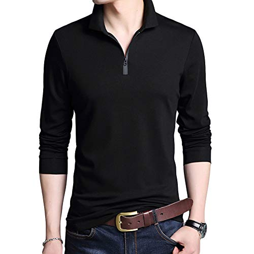 YUNCLOS メンズ ポロシャツ 長袖 POLO ゴルフ スポーツウェア ラガーシャツ ボタンダウン 開襟シャツ 無地 ストライプ柄