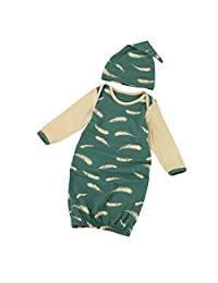 Lanpan Newborn Infant Kids Baby Long Sleeve Pajamas Gown+Hat Outfits Clothes Set
