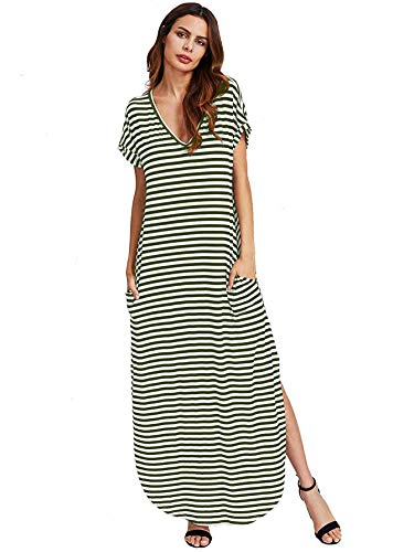 Verdusa Women's Casual V Neck Side Split Beach Long Maxi Dress Army Green&White S -