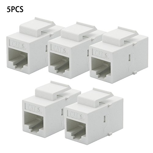 5Pcs Per Set CAT6 RJ45 Jack Female Coupler Insert Snap-in Connector Socket Adapter Port for Wall Plate Outlet Panel WHI(5pcswhite)