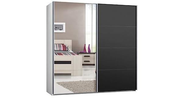 Armario de puertas correderas, puerta corredera, B/H/T: aprox 225/220/69 cm, blanco con espejo y antracita, armario: Amazon.es: Hogar