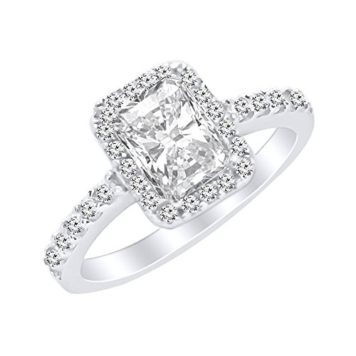 Radiant Cut CZ Solitaire Engagement Promise Sterling Silver Ring - Clear (Radiant Solitaire Ring)