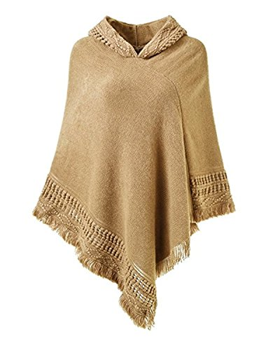 Hooded Fringe (SUNNYME Women Solid Color Poncho Hooded Fringes Crochet Shawl Capes Cover Up Cardigan Khaki One Size)