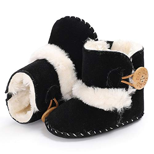 Fnnetiana Baby Winter Buttons Snow Boots Warm Shoes Anti-Skid Plush Ankle Booties Newborn Infant Crib Boots (0-6 Months, Black)
