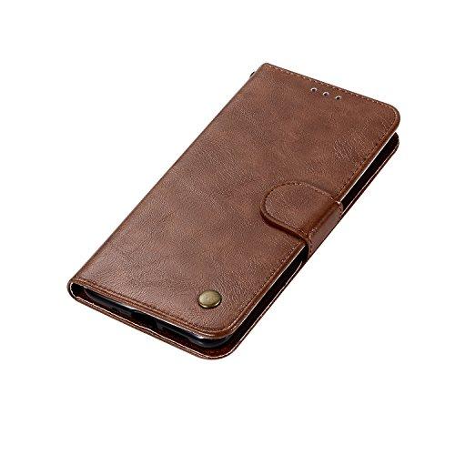 Funda Xiaomi Redmi Note 4X, SsHhUuJ Funda PU Piel Genuino Carcasa en Folio [Ranuras para Tarjetas] [Cierre Magnetico] con Acollador para Xiaomi Redmi Note 4X (5.5) - Dorado Marrón