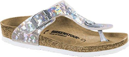 Birkenstock Kids Gizeh Sandal Hologram Silver Birko Flor Size 30 N EU / 12-12.5 N US Little Kid]()
