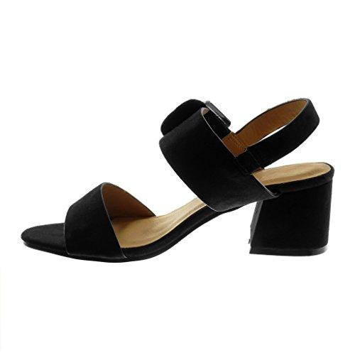 Cheville Lanière Femme Mode Chaussure cm Haut Talon Angkorly 5 Escarpin Boucle Sandale Bloc Lanière Noir 5 qRWBXxwxpH