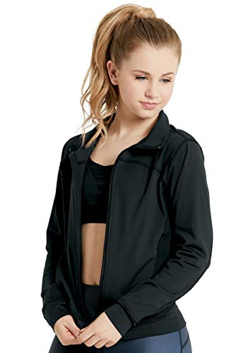 Balera Jacket Girls for Dance Functional Zip-Up with Front Pockets Black