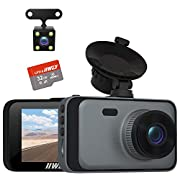 """#LightningDeal Dash Camera for Cars, 1080P Dash Cam Front and Rear and SD Card Include, 3"""" LCD Screen Dual Lens Dash Cam with Night Vision, 170° Wide Angle Dashboard DVR Motion Detection Parking Monitor G-Sensor WDR"""