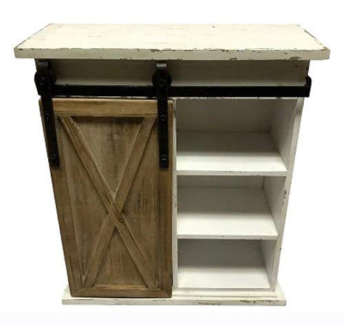 WI Sliding Barn Door Distressed Wood Storage Cabinet
