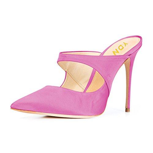 Shoes Clogs Stiletto Slide Women's on Toe High Heel YDN Sandals Slip Mules Pointy Fuchsia 7Aqywf