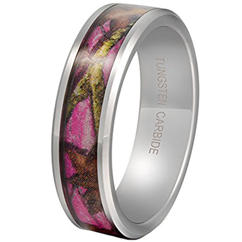 - Fashion Month Women 6mm Tungsten Carbide Pink Ring Camo Tree Leaf Pattern Hunting Camouflage Engagement Wedding Band Size 6.5