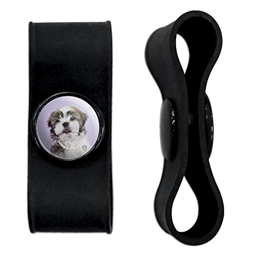 Wrap Around Pearl (Graphics and More Shih Tzu Dog In Pearls Lavender Headphone Earbud Cord Wrap - Charging Cable Manager - Wire Organizer Set of 2 - Black)