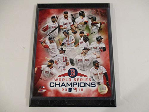 (BOSTON RED SOX 2018 WORLD SERIES CHAMPIONS STARS ACTION PHOTO MOUNTED ON A