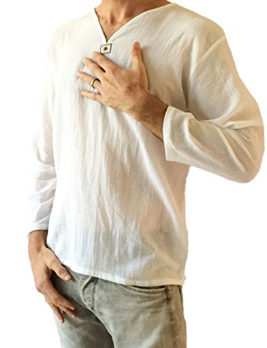 (Love Quality Men's White T-Shirt 100% Cotton Thai Hippie Shirt V-Neck Beach Yoga Top (Small))