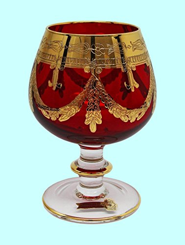 Interglass - Italy, Red Crystal Cognac Snifters Goblets, Vintage Design, 24K Gold Hand Decorated, 10 Oz, SET OF 6 by Interglass (Image #1)