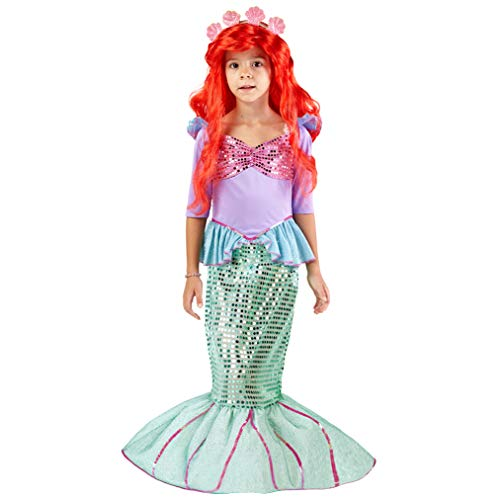 Princess Ariel Costume For Toddlers (Spooktacular Creations Deluxe Mermaid Costume Set with Red Wig and Headband (Toddler)
