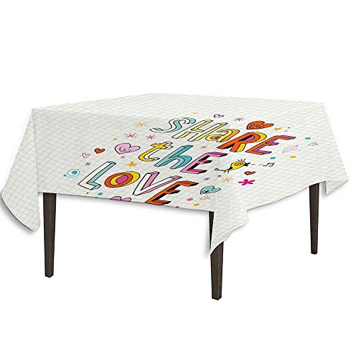 kangkaishi Love Easy Care Leakproof and Durable Tablecloth Share The Love Cheerful Childish Quote Smiling Hearts Singing Bird Notebook Page Style Outdoor Picnic W70 x L70 Inch Multicolor
