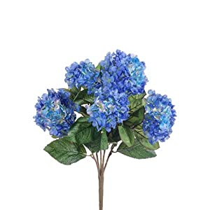 "19"" Hydrangea Bush x5 Blue (Pack of 6) 20"